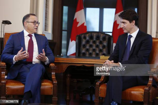 Alan Kestenbaum chief executive officer ofStelcoHoldings Inc left speaks while Justin Trudeau Canada's prime minister listens during a photo...