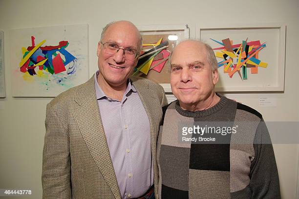 Alan Klingenstein and guest attend FilmRise Celebrates new office in Industry City Brooklyn at FilmRise on February 25 2015 in Brooklyn New York