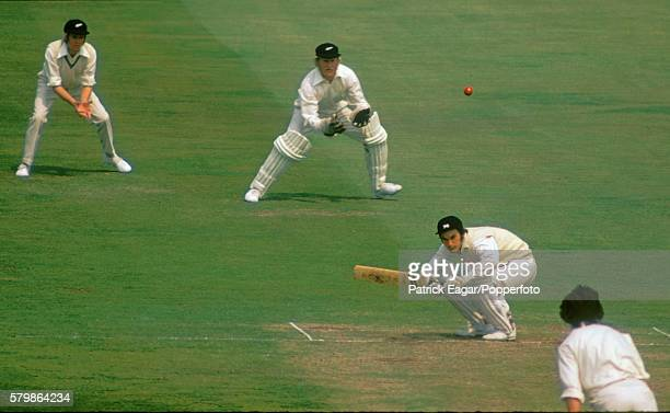 Alan Knott of England ducks a bouncer from Richard Hadlee of New Zealand during the 1st Test match between England and New Zealand at Trent Bridge...
