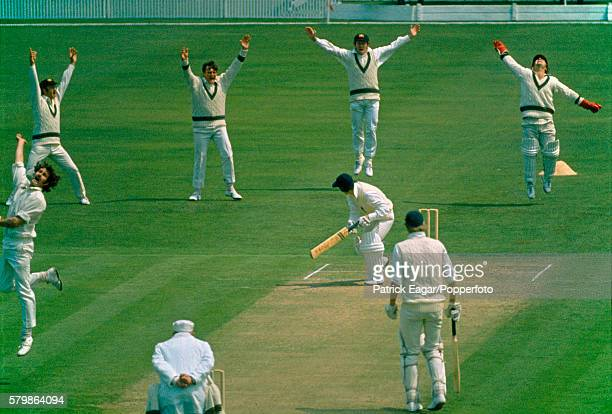 Alan Knott of England is out, caught by Rod Marsh of Australia bowled Dennis Lillee of Australia during the 1st Test match between England and...