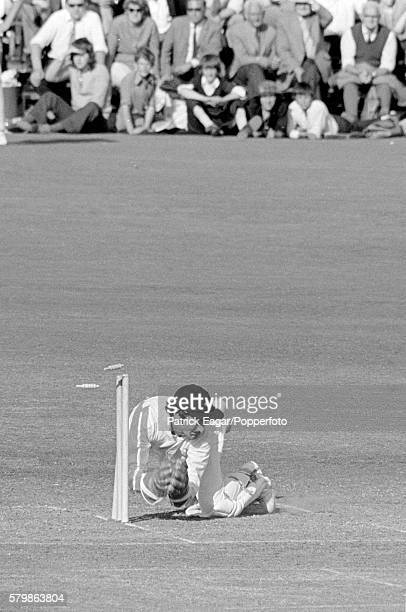 Alan Knott of Kent dives for a run out during the Benson and Hedges Cup Quarter Final between Hampshire and Kent at Southampton England 13th June 1973