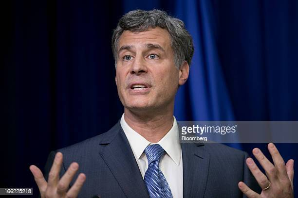 Alan Krueger chairman of the Council of Economic Advisers speaks during a news conference in the South Court Auditorium of the Eisenhower Executive...