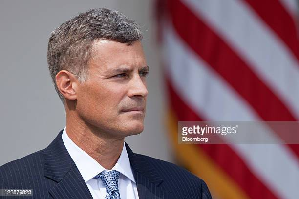 Alan Krueger nominee to lead the White House Council of Economic Advisers listens as US President Barack Obama unseen announces his nomination in the...