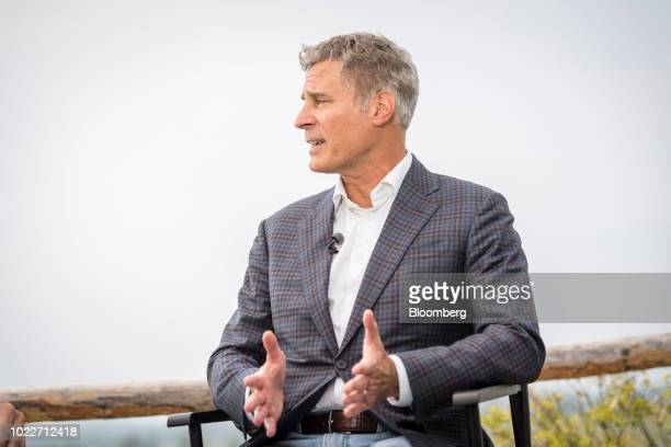 Alan Krueger professor at Princeton University speaks during a Bloomberg Television interview at the Jackson Hole economic symposium sponsored by the...