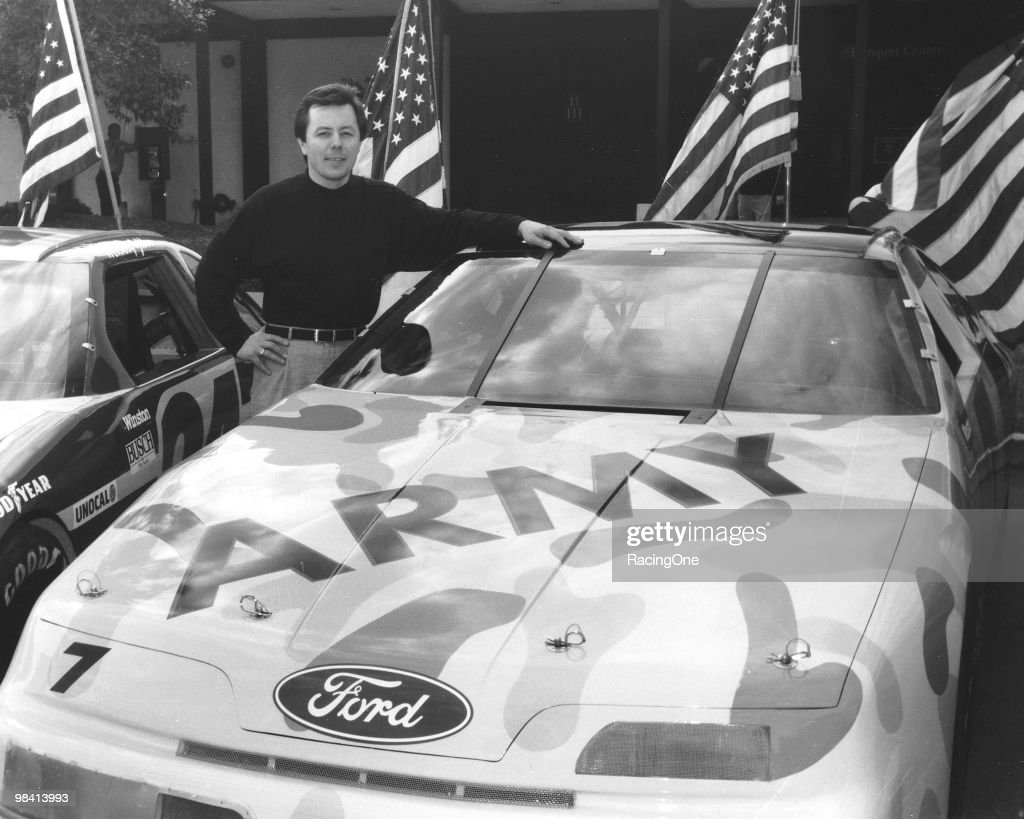 Alan Kulwicki poses with his U.S. Army-sponsored car he ran in the Daytona 500, finishing 8th.