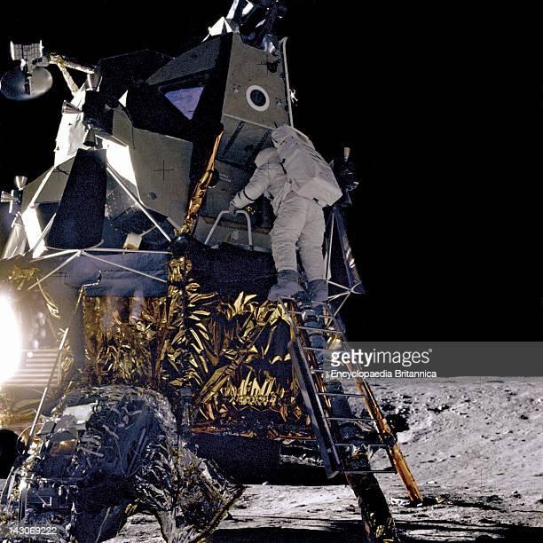 Alan L Bean Lunar Module Pilot Alan L Bean Lunar Module Pilot For The Apollo 12 Mission Starts Down The Ladder Of The Lunar Module Intrepid To Join...