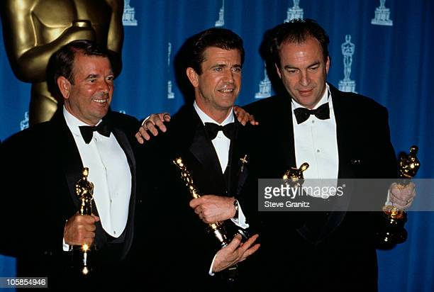 Alan Ladd JR Mel Gibson and Bruce Davey during The 68th Annual Academy Awards at Dorothy Chandler Pavilion in Los Angeles California United States