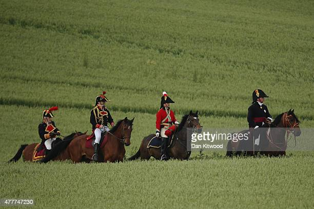 Alan Larsen playing The Duke of Wellington arrives as historical reenactors prepare to take part in the first part of a large scale reenactment of...
