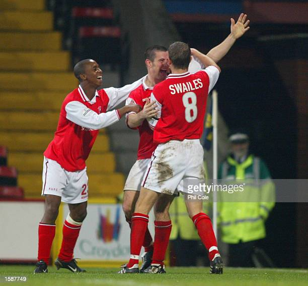 Alan Lee celebrates scoring Rotherham's third goal during the Worthington Cup Third Round match between Wimbledon and Rotherham United at Selhurst...