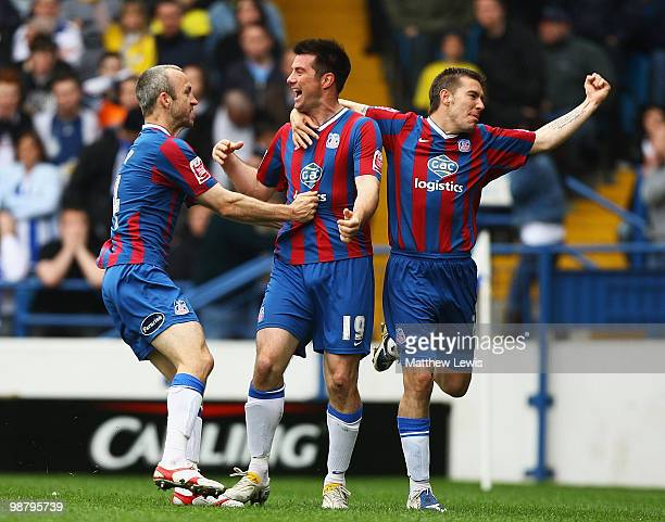 Alan Lee of Crystal Palace celebrates his goal with Shaun Derry and Darren Ambrose during the CocaCola Championship match between Sheffield Wednesday...