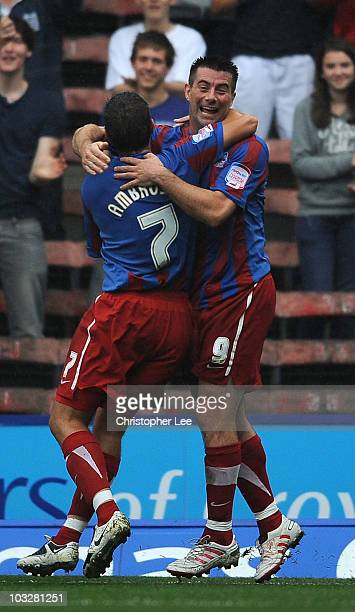 Alan Lee of Crystal Palace celebrates scoring their third goal during the npower Championship match between Crystal Palace and Leicester City at...