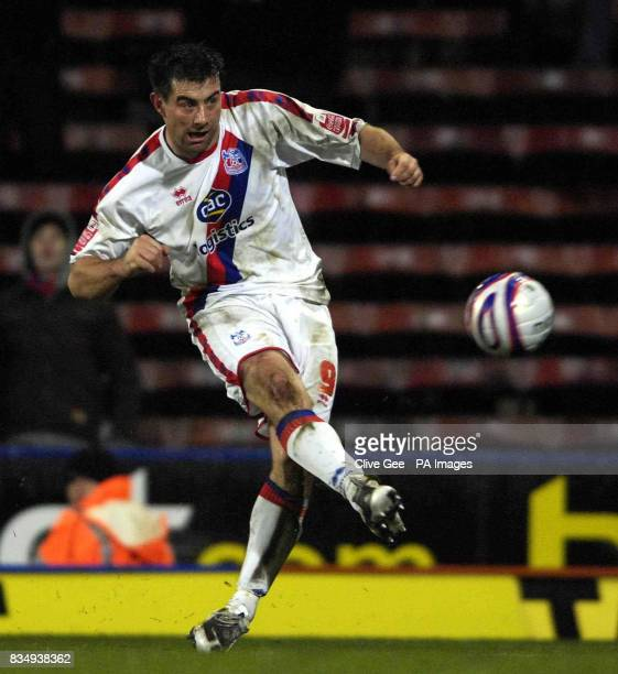 Alan Lee of Crystal Palace has a shot during during the CocaCola League Championship match at Selhurst Park London