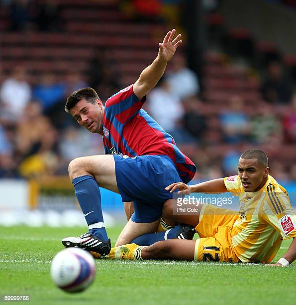 Alan Lee of Crystal Palace tackles Danny Simpson of Newcastle United during the Coca Cola Championship match between Crystal Palace and Newcastle...