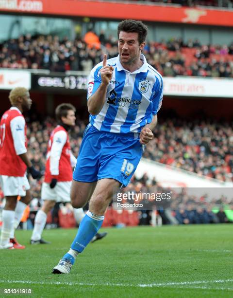 Alan Lee of Huddersfield celebrates after scoring a goal during the FA Cup sponsored by EON 4th round match between Arsenal and Huddersfield Town at...