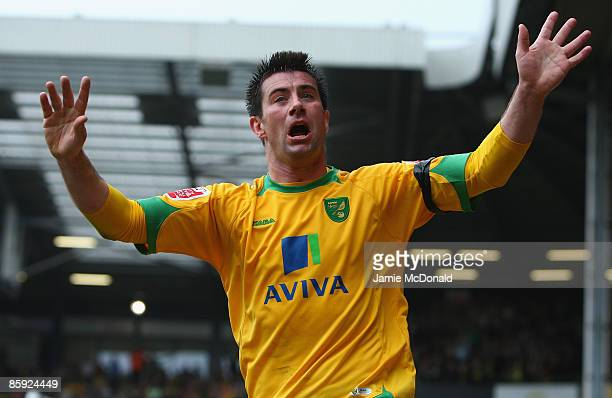Alan Lee of Norwich celebrates his goal in vain as it was ruled offside during the Coca Cola Championship match between Norwich City and Watford at...