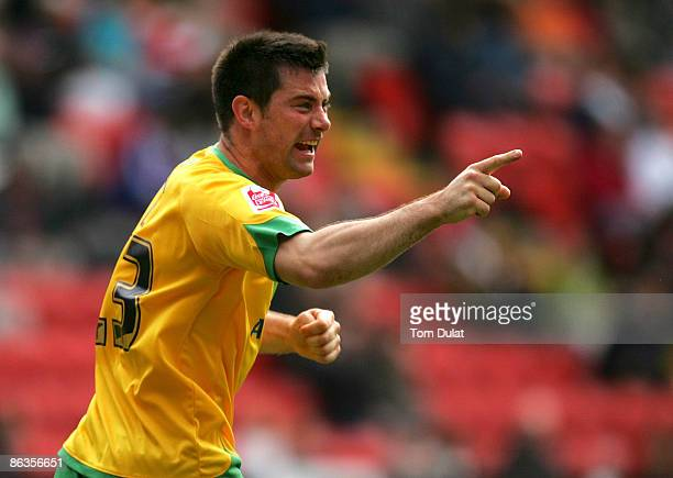 Alan Lee of Norwich City celebrates scoring his sides first goal during the Coca Cola Championship match between Charlton Athletic and Norwich City...