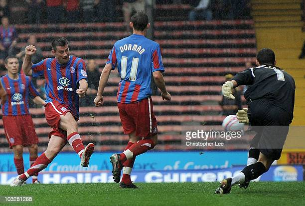 Alan Lee of Palace scores their third goal during the npower Championship match between Crystal Palace and Leicester City at Selhurst Park on August...