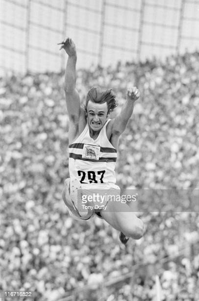 Alan Lerwill of Great Britain jumping his way to 7th place in the Men's Long Jump event at the XX Summer Olympic Games on 9th September 1972 at the...