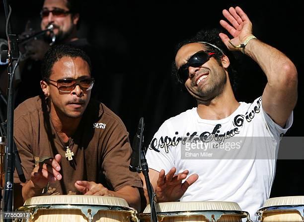 Alan Lightner and Ricky Rodriguez of The Rhythm Roots Allstars perform during the Vegoose music festival at Sam Boyd Stadium's Star Nursery Field...
