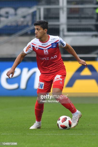 Alan Lima Carius of FC Linz during the 2 Liga match between FC Juniors OOe v FC Blau Weiss Linz at TGW Arena on October 7 2018 in Pasching Austria