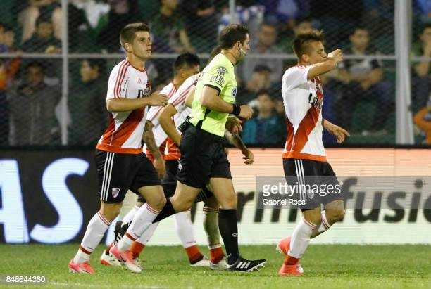 Alan Marcel of River Plate celebrates with teammates after scoring the third goal of his team during a match between San Martin de San Juan and River...