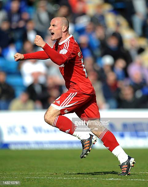Alan McCormack of Swindon celebrates scoring their goal during the npower League 2 match between Gillingham and Swindon Town at Priestfield Stadium...