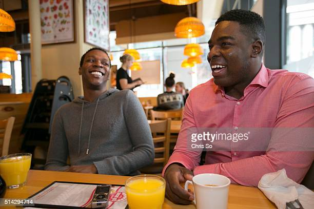 Alan Mingo Jr., left, has brunch with Kyle Taylor Parker who will replace Mingo Jr. In the role of Lola in Kinky Boots.