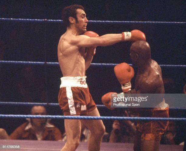 Alan Minter of Great Britain in action against Marvin Hagler of the USA during their WBA and WBC World middleweight titles fight at Wembley Arena in...
