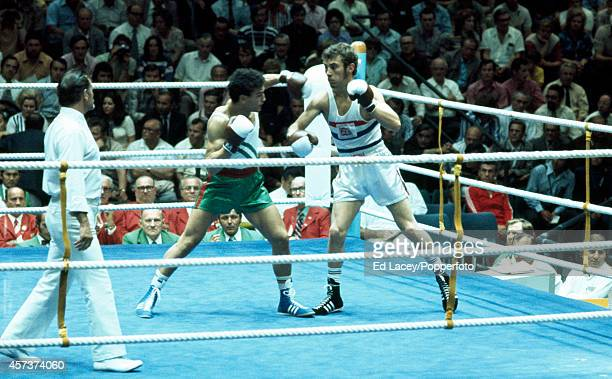 Alan Minter of Great Brtiain during his light middleweight quarterfinal boxing match against Loucif Hanmani of Algeria at the Summer Olympic Games in...