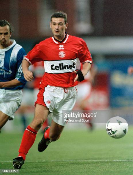 Alan Moore of Middlesbrough in action during the Nationwide Football League Division One match between Stockport County and Middlesbrough at Edgeley...