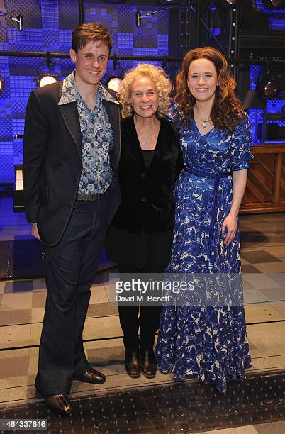 Alan Morrissey Carole King and Katie Brayben bows at the curtain call during the press night performance of 'Beautiful The Carole King Musical' at...
