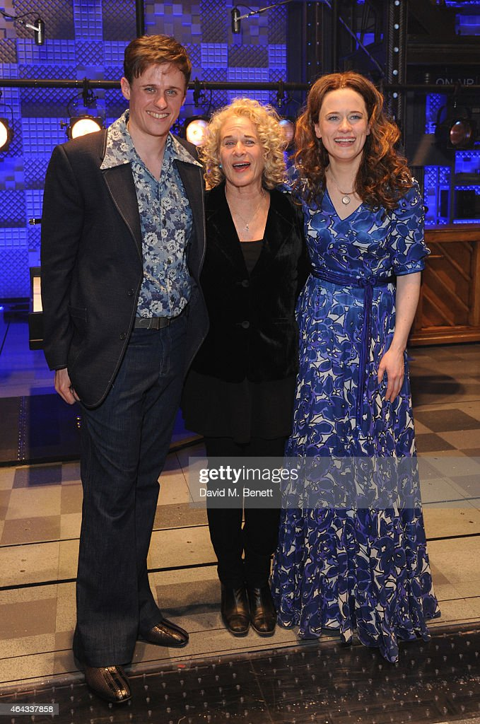 Alan Morrissey, Carole King and Katie Brayben bows at the curtain call during the press night performance of 'Beautiful: The Carole King Musical' at the Aldwych Theatre on February 24, 2015 in London, England.