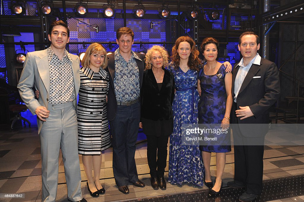 Alan Morrissey, Carole King, Katie Brayben (C) and Cast bows at the curtain call during the press night performance of 'Beautiful: The Carole King Musical' at the Aldwych Theatre on February 24, 2015 in London, England.