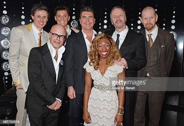 Alan Morrissey cowriter Harry Hill Nigel Harman producer Simon Cowell Cynthia Erivo cowriter Steve Brown and director Sean Foley pose backstage at...
