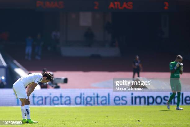 Alan Mozo of Pumas reacts after the 3rd round match between Pumas UNAM and Atlas as part of the Torneo Clausura 2019 Liga MX at Olimpico...