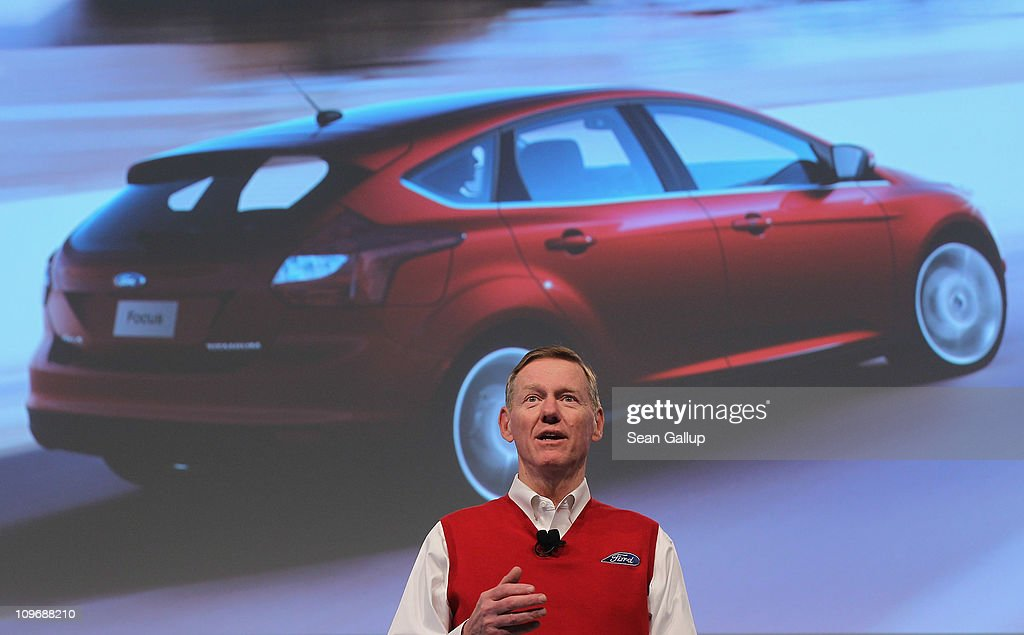 Alan Mulally, CEO of Ford Motor Co., presents the new Ford Sync automotive mobile communications system at the CeBIT technology trade fair on March 1, 2011 in Hanover, Germany. CeBIT 2011 will be open to the public from March 1-5.