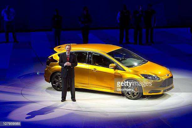Alan Mulally chief executive officer of Ford Motor Co speaks about the new Ford Focus ST during the North American International Auto Show on Monday...