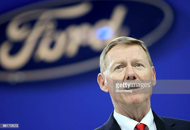 Alan Mulally chief executive officer of Ford Motor Co speaks during a media preview of the New York International Auto Show in New York US on...