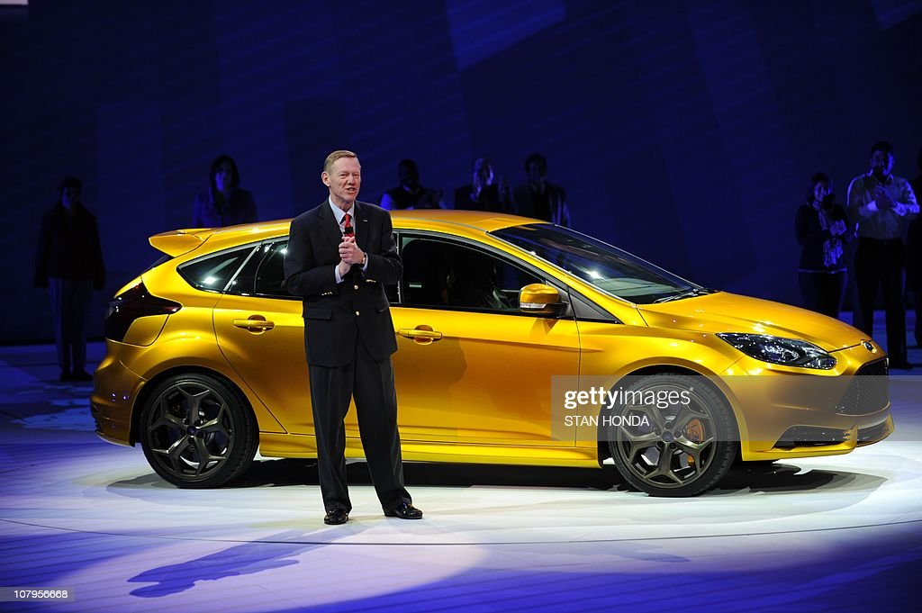 Alan Mulally, President and CEO of the Ford MOtor Company introduces the Focus ST during the first press preview day at the 2011 North American International Auto Show January 10, 2011 in Detroit, Michigan. AFP PHOTO/Stan HONDA
