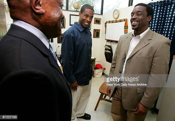 Alan Newton enjoys newfound freedom as Medgar Evers College student/employee with coworker John Ball and college President Edison Jackson