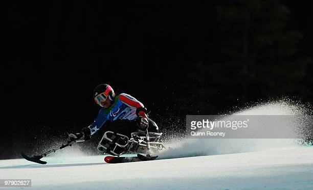 Alan Nichols of USA competes in the Women's Sitting Combined SuperG during Day 9 of the 2010 Vancouver Winter Paralympics at Whistler Creekside on...