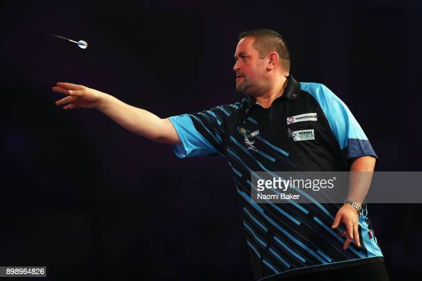 Alan Norris of Scotland in action during his second round match against James Richardson of England on day eleven of the 2018 William Hill PDC World...