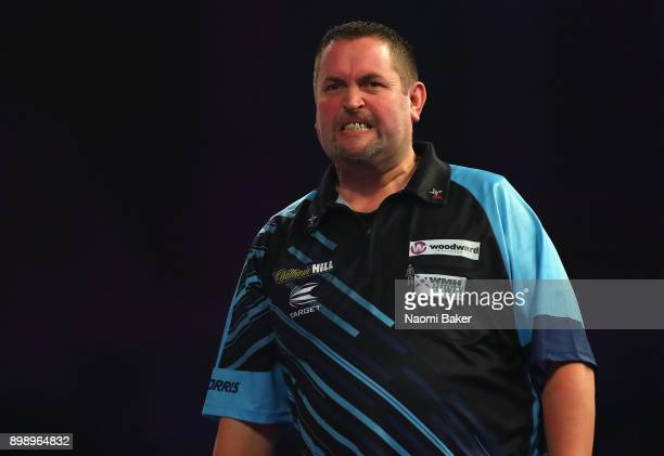 Alan Norris of Scotland shows frustration during his second round match against James Richardson of England on day eleven of the 2018 William Hill...