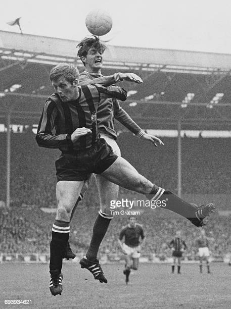 Alan Oakes of Manchester City challenges Allan Clarke of Leicester City for the ball in the air during their FA Cup final match on 26 April 1969 at...
