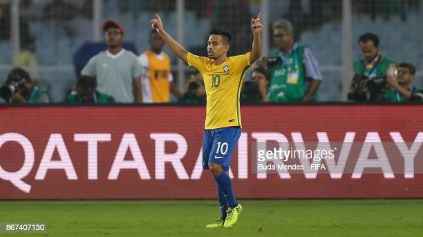 Alan of Brazil celebrates a goal during the FIFA U17 World Cup India 2017 3rd Place match between Brazil and Mali at Vivekananda Yuba Bharati...