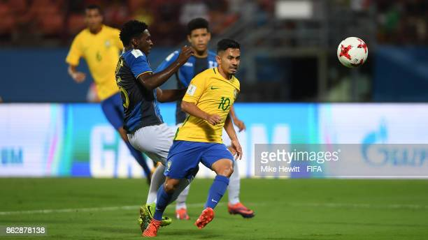 Alan of Brazil in action during the FIFA U17 World Cup India 2017 Round of 16 match between Brazil and Honduras at the Jawaharlal Nehru International...