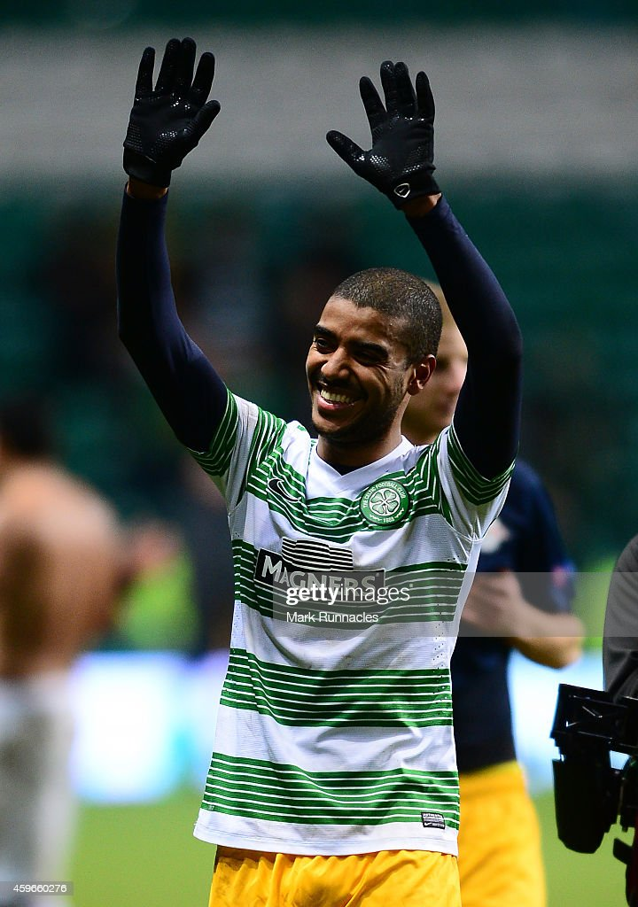 Alan of FC Salzburg celebrates winning the group with the traveling fans after the final whistle during the UEFA Europa League group D match between Celtic FC and FC Salzburg at Celtic Park on November 27, 2014 in Glasgow Scotland.