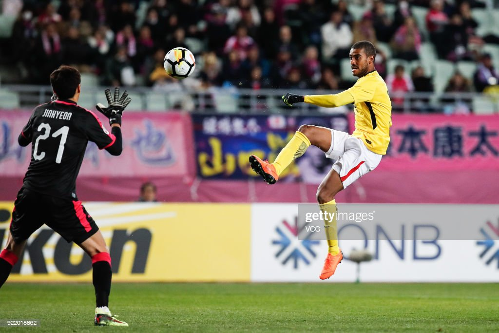 Alan #7 of Guangzhou Evergrande shoots the ball during the AFC Champions League Group G match between Cerezo Osaka and Guangzhou Evergrande at the Yanmar Stadium Nagai on February 21, 2018 in Osaka, Japan.