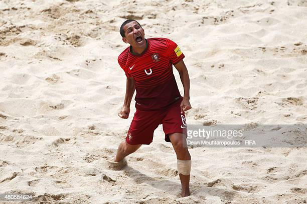 Alan of Portugal celebrates scoring his teams third goal of the game during the Group A FIFA Beach Soccer World Cup match between Portugal and...