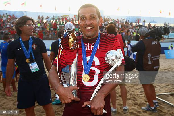 Alan of Portugal poses with the trophy and the adidas Silver Ball after winning the FIFA Beach Soccer World Cup Portugal 2015 Final between Tahiti...